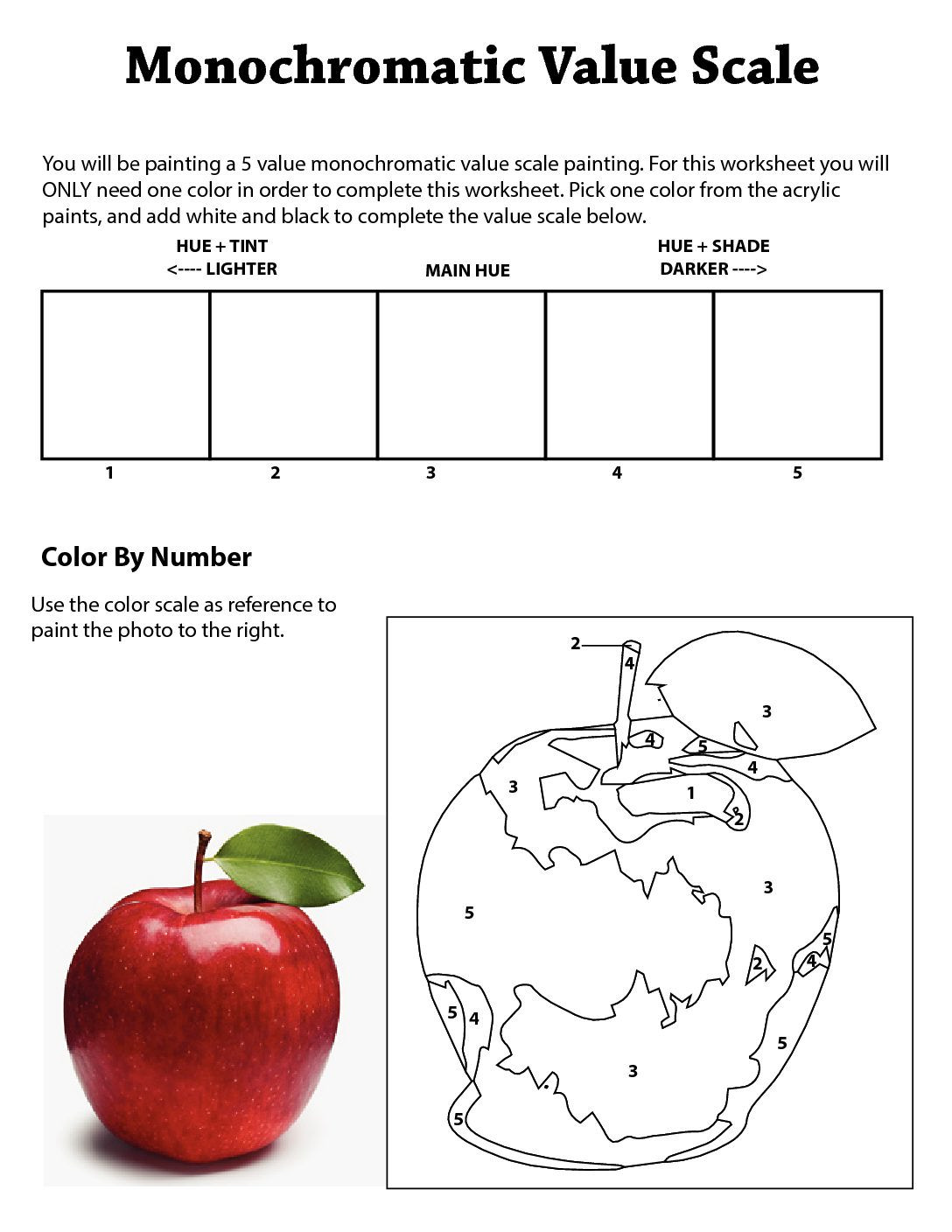 Monochromatic Value Worksheet In