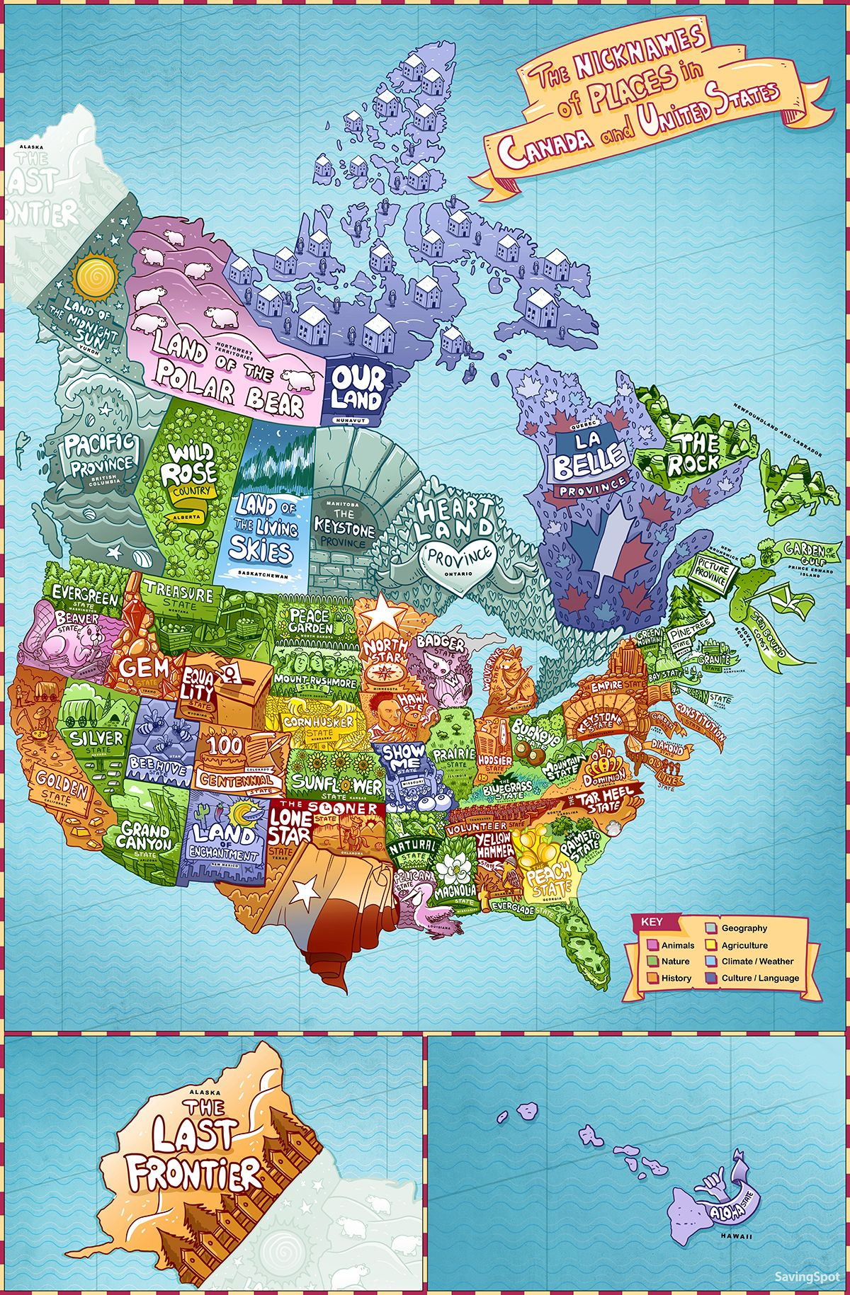 Maps Reveal Nicknames of Every U.S. State and Canadian