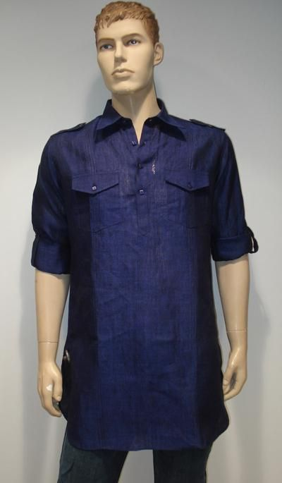 G3 Fashions Royal blue Linen Short Pathani Kurta  Product Code : G3-MSP1010 Price : INR RS 1995