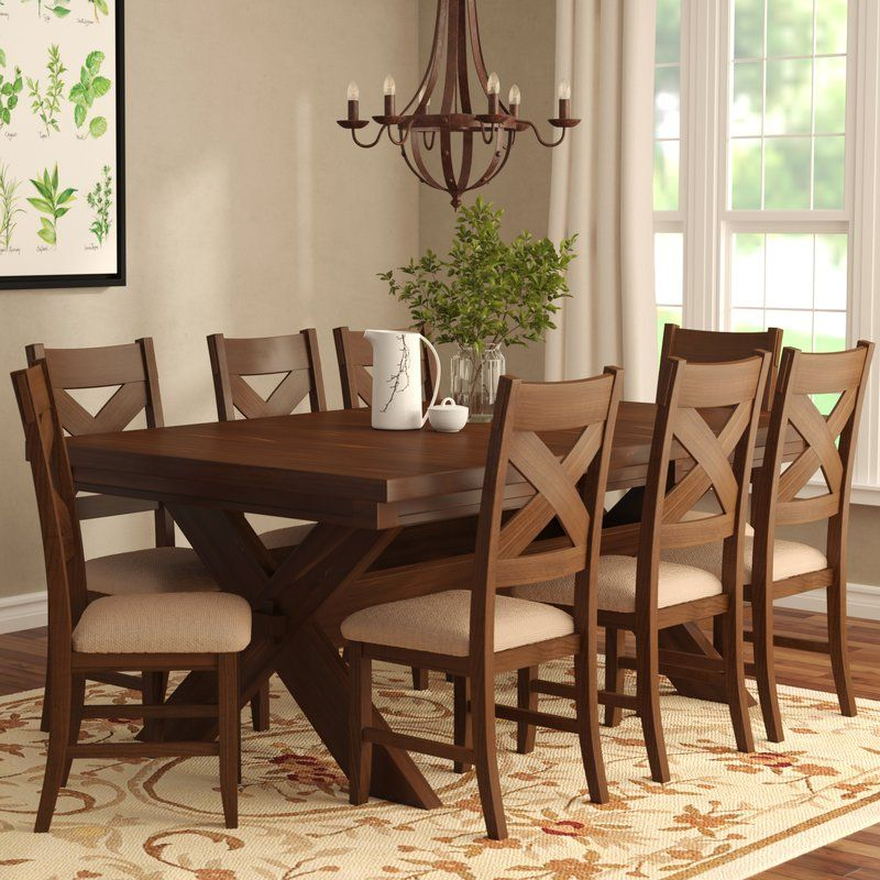 Isabell 9 Piece Dining Set Solid Wood Dining Set Dining Room Table Dining Room Sets