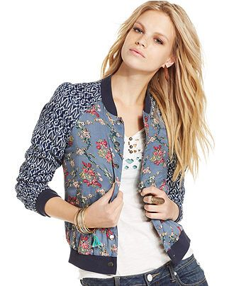 c3a0a3752 Free People Long-Sleeve Cutout V-Neck Top & Printed Bomber Jacket ...