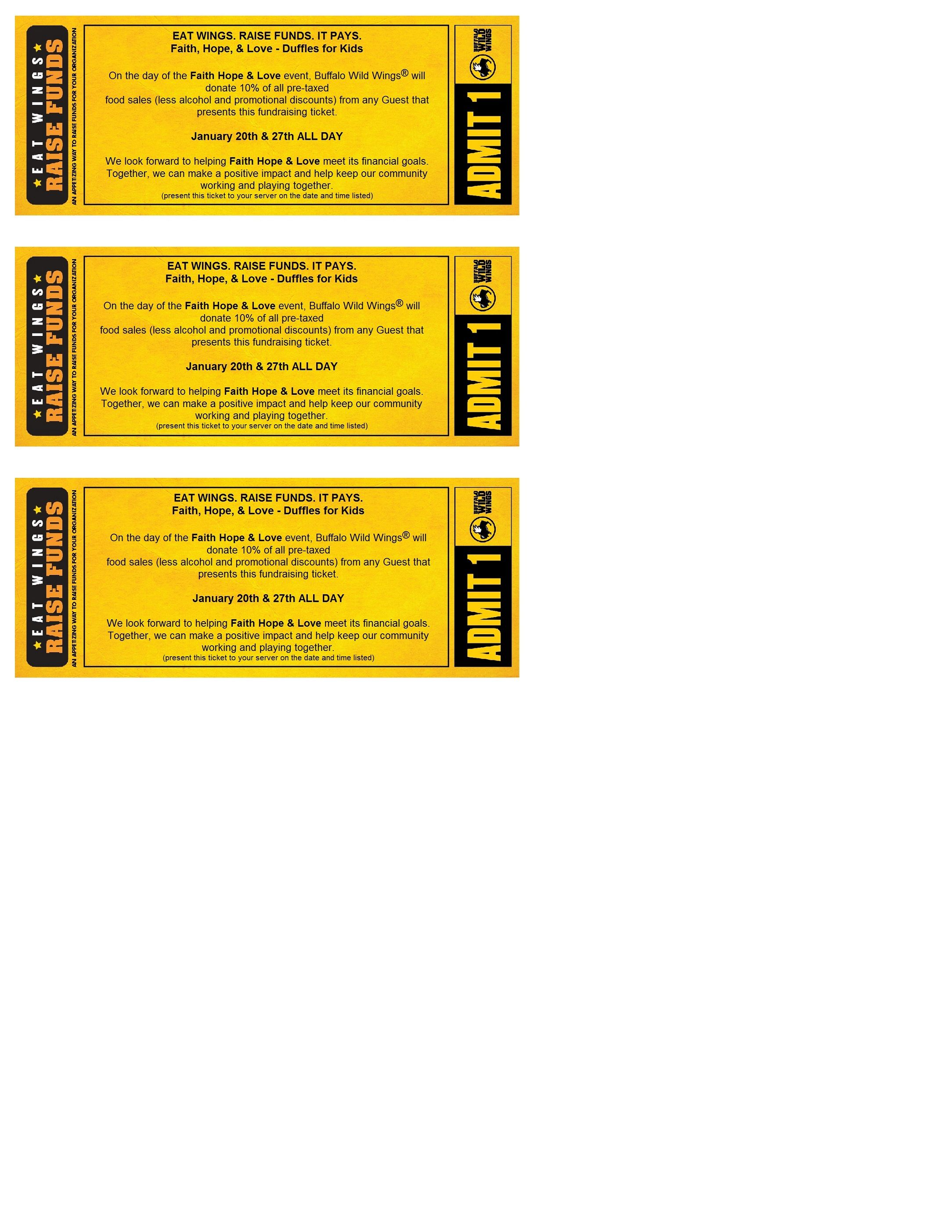 On January 20th & 27th- ALL DAY, Buffalo Wild Wings Racine Wi will ...