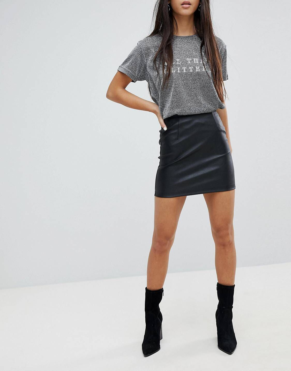 Image result for ASOS DESIGN Petite sculpt me leather look mini skirt