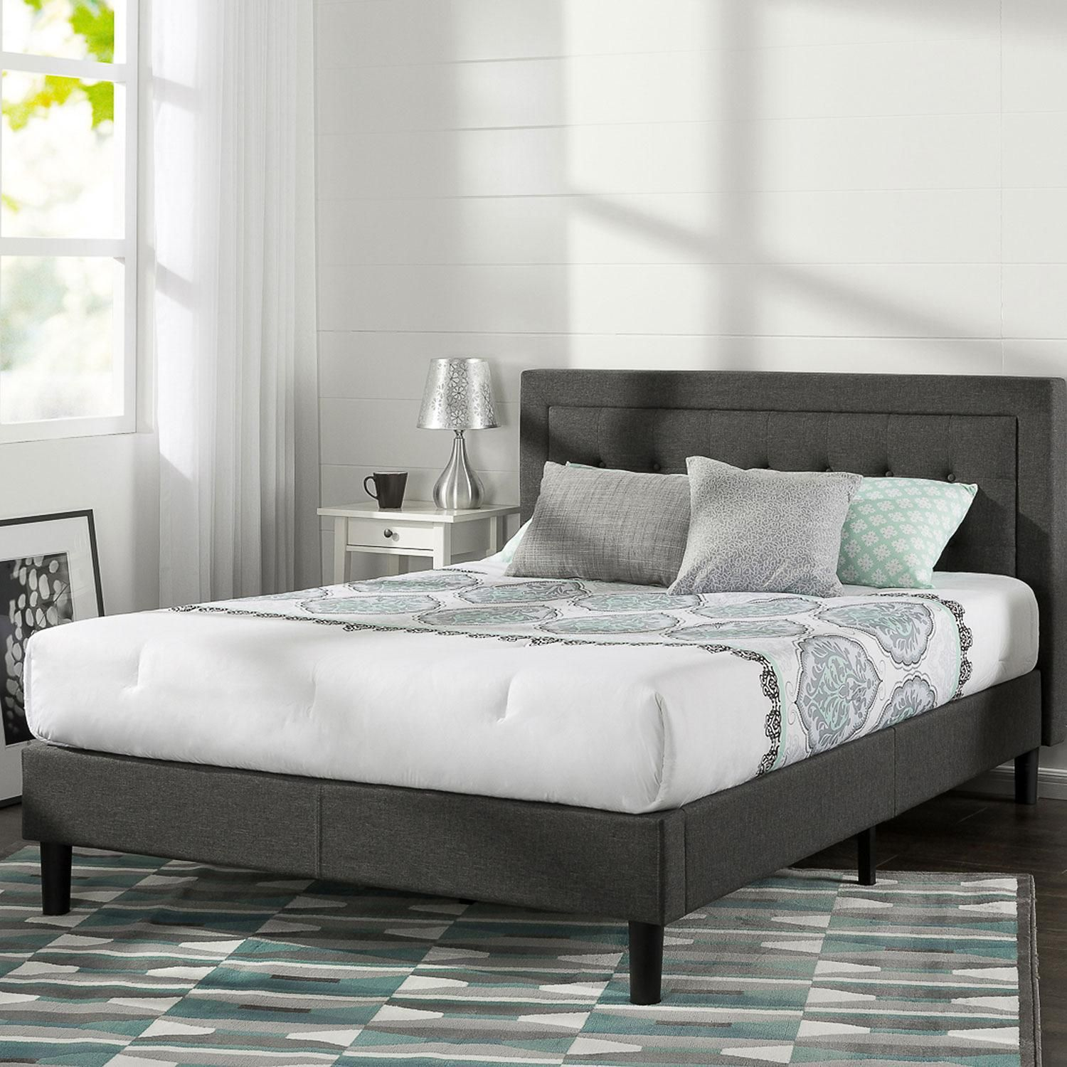 Night Therapy Upholstered Platform Bed With Wooden Slats Dark