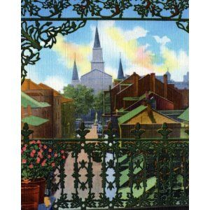 """French Quarter Lacework, New Orleans - Fine-Art Gicl??e Photographic Print - 8""""x10"""" Enlargement from a Classic Vintage Postcard"""