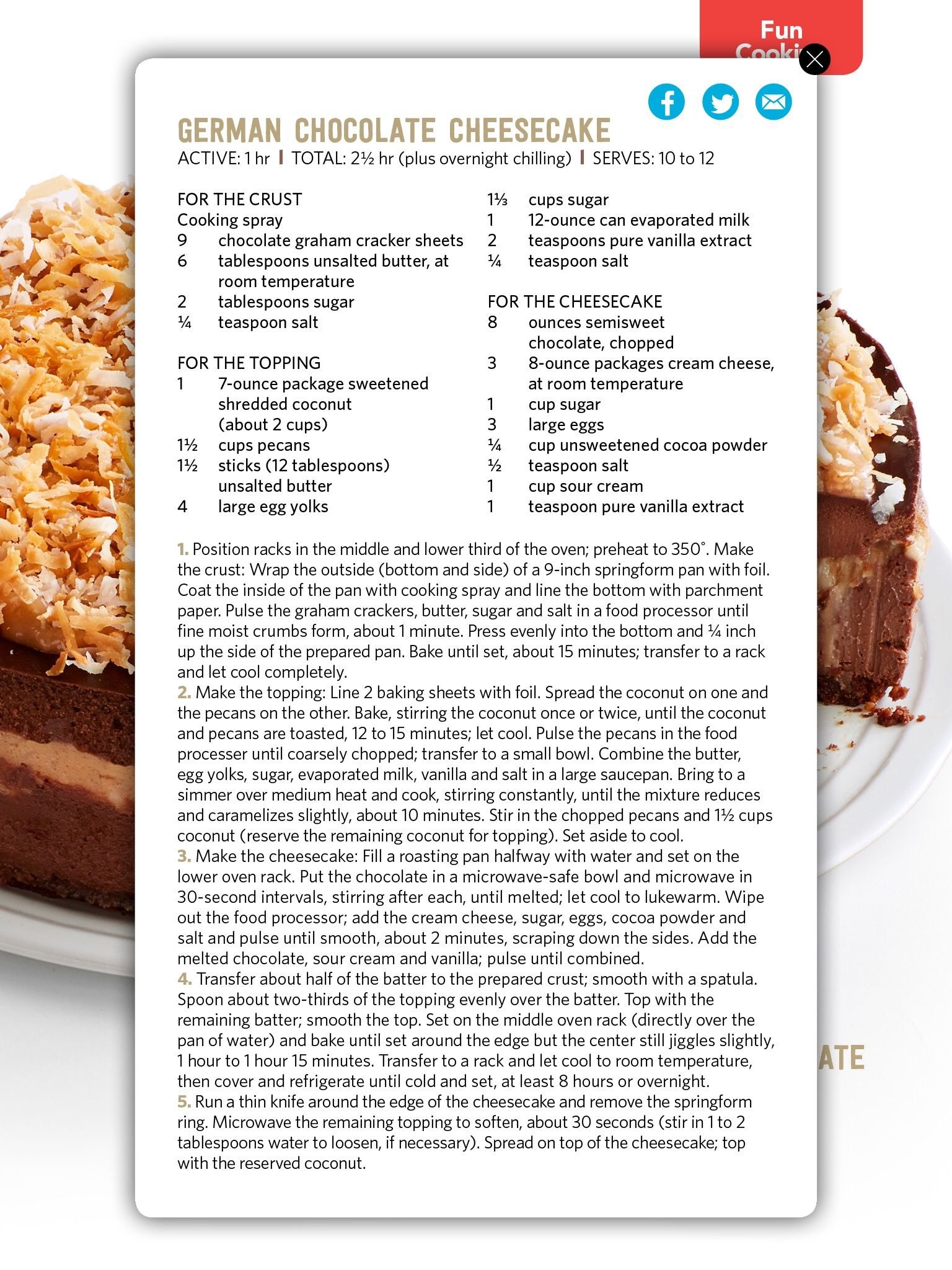 Pin by may albinali on deserts pinterest recipe cards deserts recipe cards german chocolate cheesecake cheesecakes magazine favorite recipes sweet tooth sweet treats chocolates food network forumfinder Choice Image