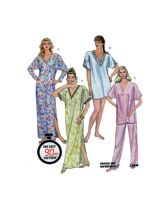 Women, Caftan, Nightgown, Sewing Pattern, McCalls 4553, V Neckline ...