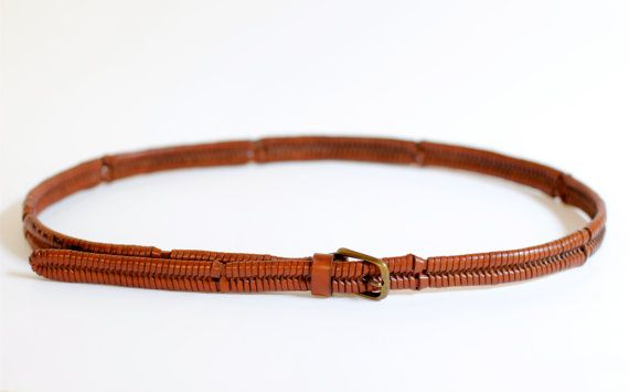 NEW! 1970s brown leather woven fishtail belt by roxandsam on Etsy, $18.00