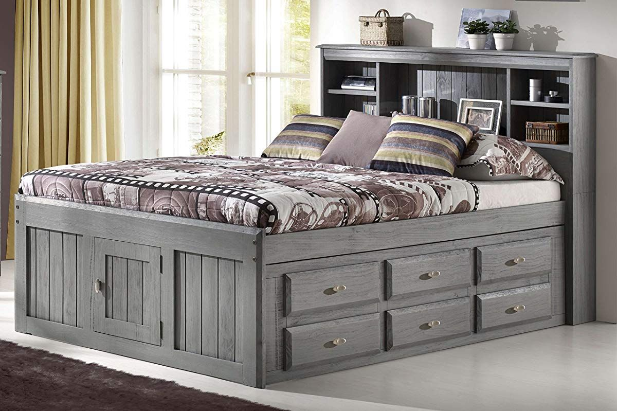 Discovery World Furniture Charcoal Full Bookcase Captain Bed With