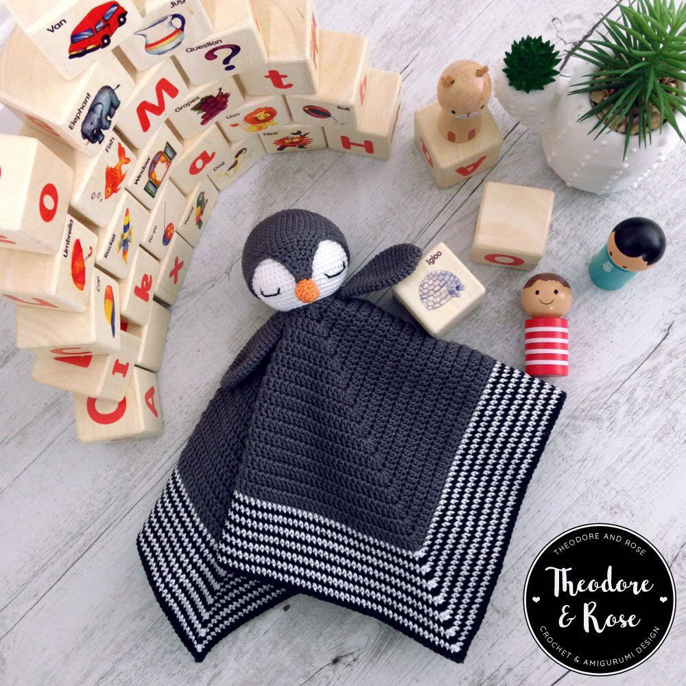Crochet lovey pattern - Po The Playful Penguin security blanket - amigurumi Pattern, penguin pattern, crochet penguin, DIY - PATTERN #crochetsecurityblanket
