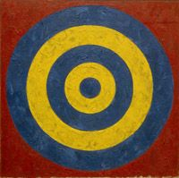 image: Target, 1958 oil and collage on canvas; 91.44 x 91.44 cm (36 x 36 in.); National Gallery of Art, Washington, Collection of the Artist, On Loan. By Jasper Johns