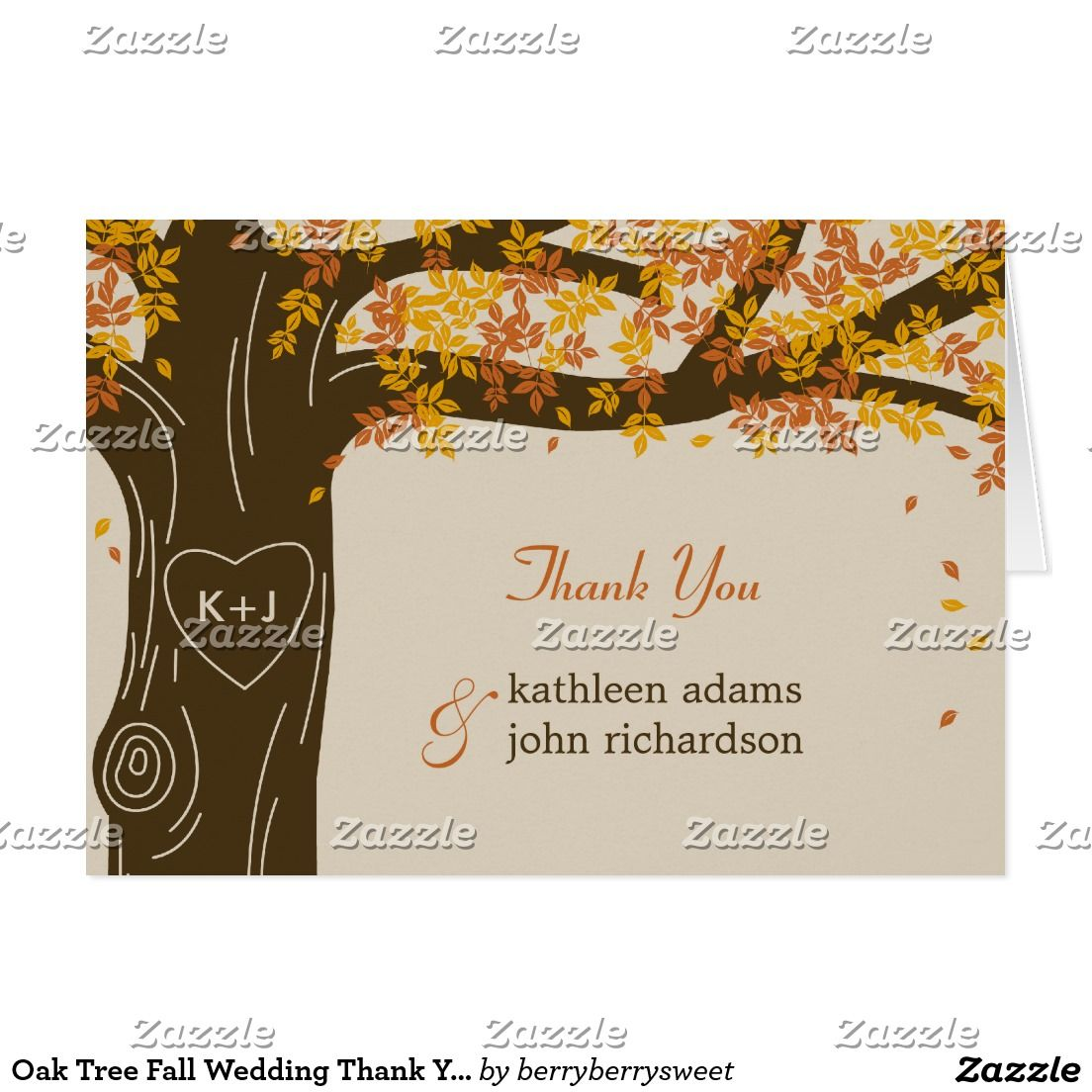 Oak Tree Fall Wedding Thank You Note Cards  Trees Oak Tree And