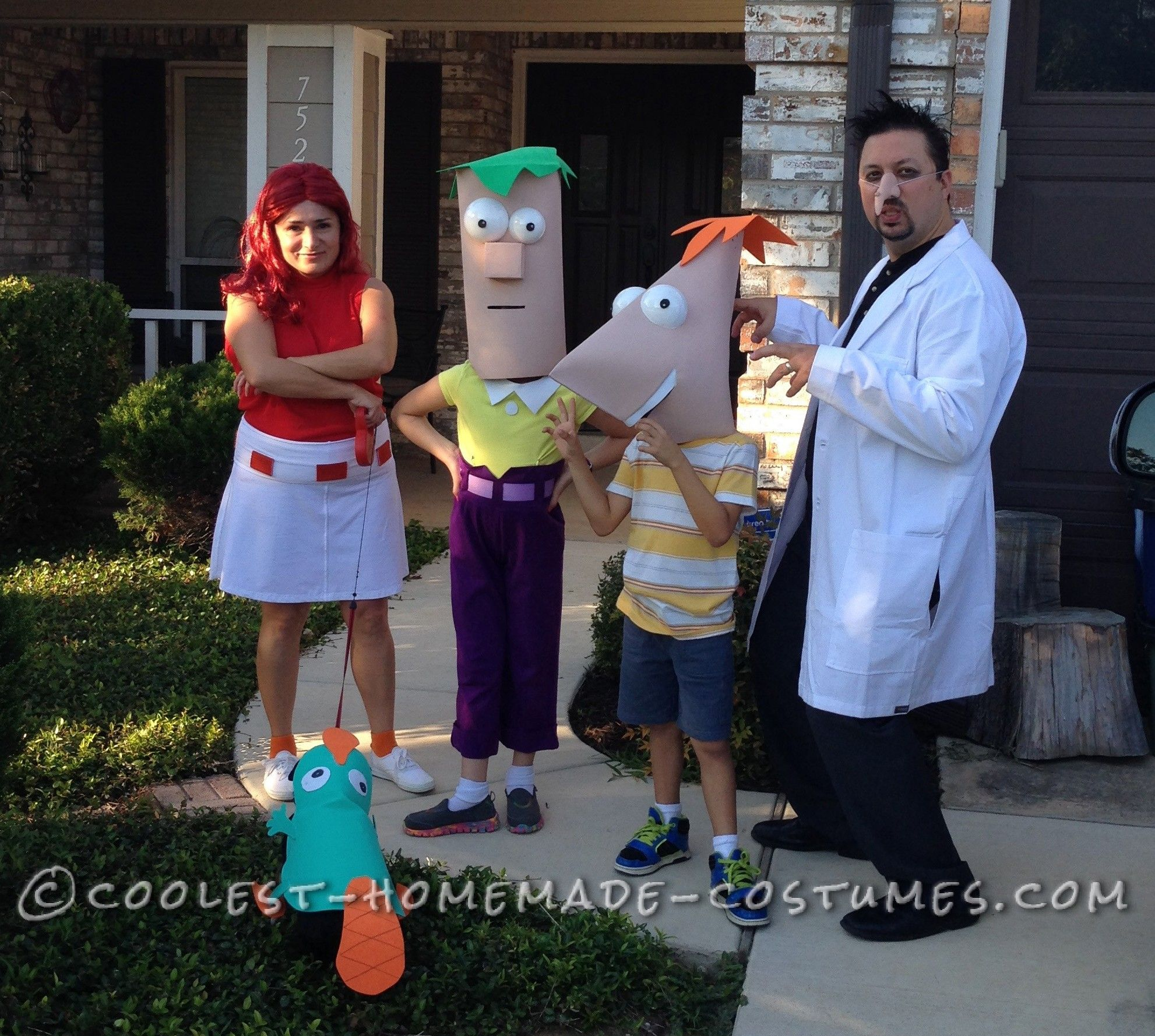 the cast of phineas and ferb family costume - Phineas Halloween Costume