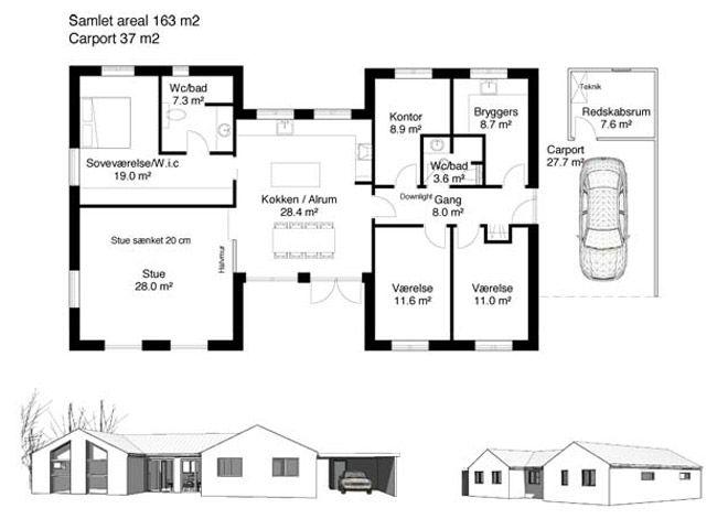 Nybyggeri, 160 kvm, 170 kvm, 180 kvm, lavenergi I like homes - maison de 100m2 plan