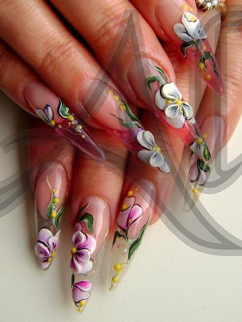 Floral Stiletto Nails Pretty For Spring Nailart Pinterest