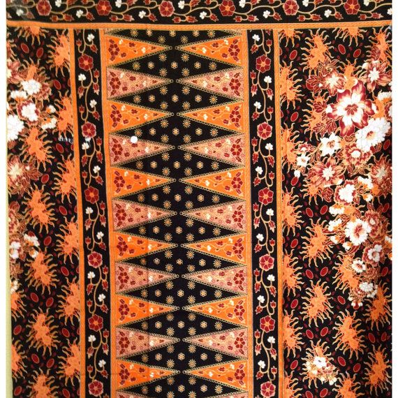 Bright Orange Design Malaysian Batik