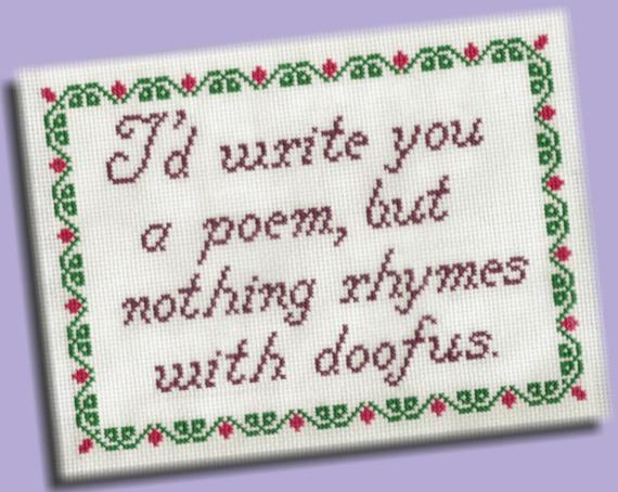 Funny Cross Stitch Pattern: Rhymes With Doofus | Products | Funny