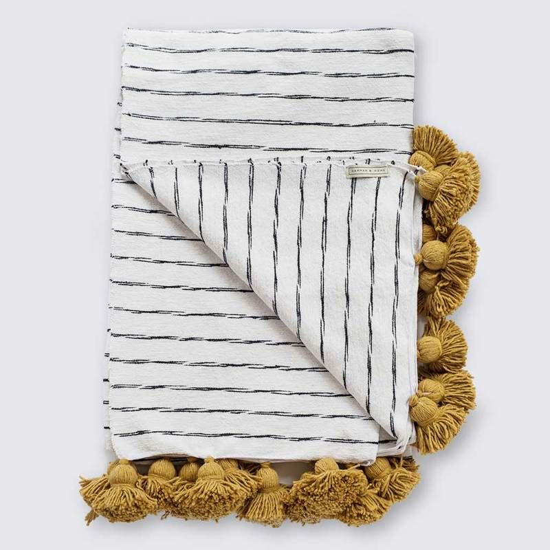 Mustard Stripe Moroccan Pom Pom Blanket Hammam Home Mustard Throw Blanket Pom Pom Blanket Moroccan Pom Pom Blanket