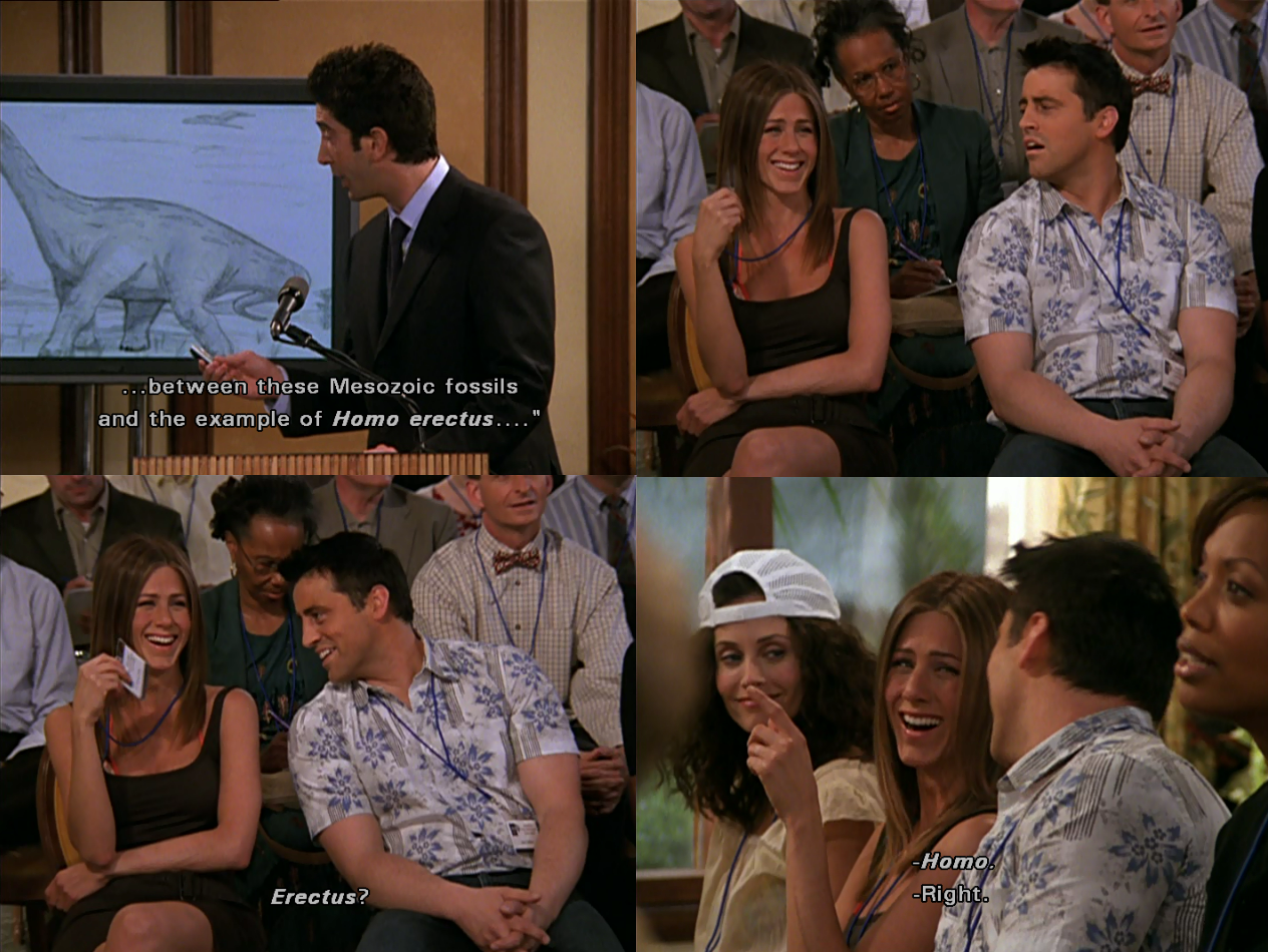Between these Mesozoic fossils.. ~ Friends Quotes ~ Season 9, Episode 23:  The One in Barbados #amusementphi… | Friends in love, Friends tv quotes, I  love my friends