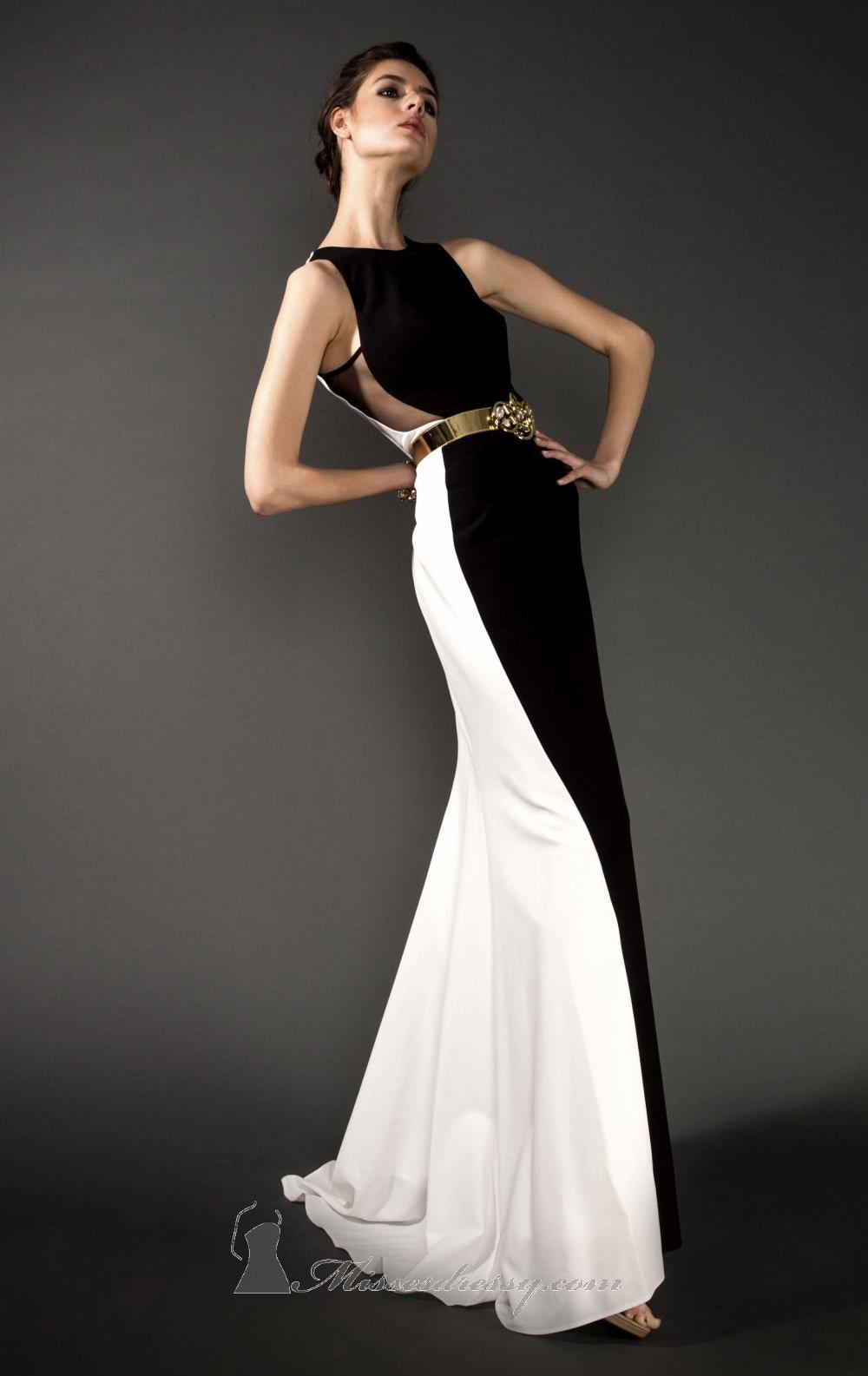 White Gold Slim Black Colourblock Dress By Paula Richi | Dresses ...
