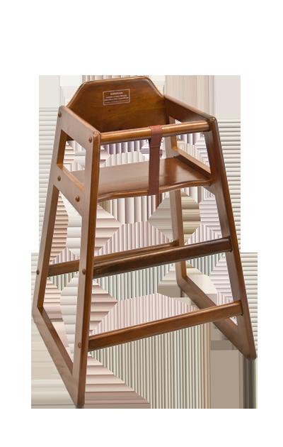 Restaurant Furniture Wood High Chair In Walnut Finish Restaurant