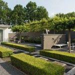 Groenblijvende tuinplanten als kader in moderne tuin bij villa.