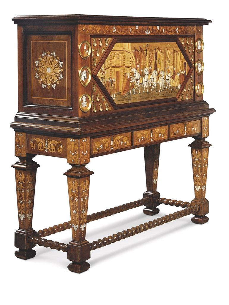 An Italian Mahogany, Giltwood, Ivory And Fruitwood Marquetry  Cabinet On Stand