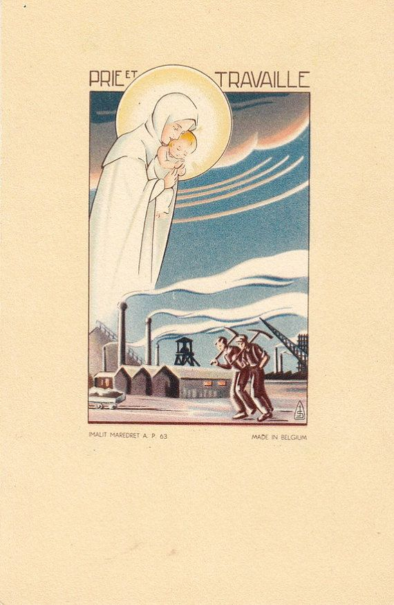 Vintage Religious postcard.Pry and Work by ParisBookandPaper