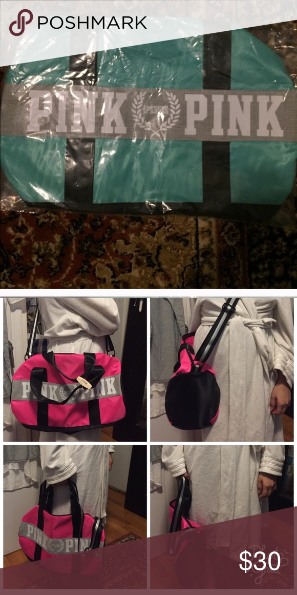 VS gym bag in teal Used at the gym once. Really nice bag. Sky blue color. Price negotiable PINK Victoria's Secret Bags Travel Bags