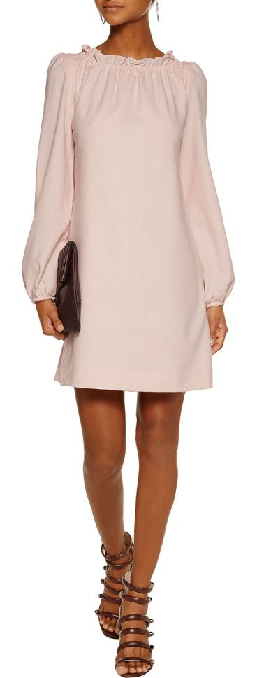 On SALE at 55% OFF! Ruffled Wool-crepe Mini Dress by GOAT. Cut for a loose fit . Mid -weight, non -stretchy fabric . Model is 177cm / 5'10 and is wearing a UK size 8 Goat blush...