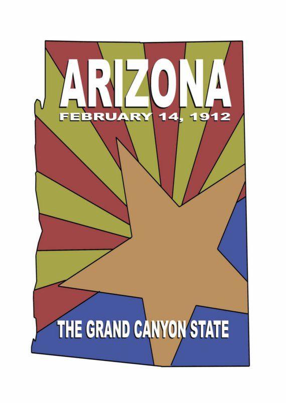 Arizona  State Series Postcard by DaogreerEarthWorks on Etsy. , via Etsy.