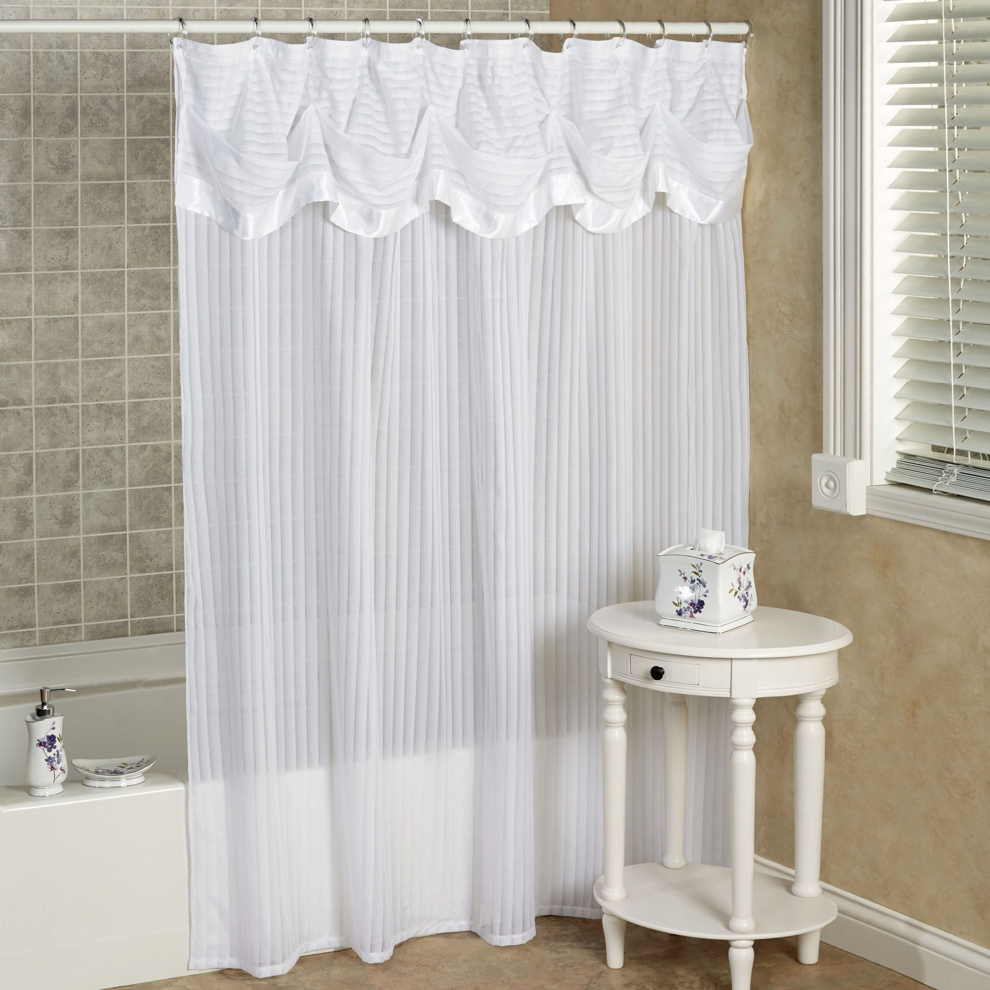 Nimbus Stripe Shower Curtain with Attached Valance | Striped shower ...