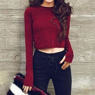 Buy 'Champi – Plain Cropped Long-Sleeve Top' with Free International Shipping at YesStyle.com. Browse and shop for thousands of Asian fashion items from China and more!