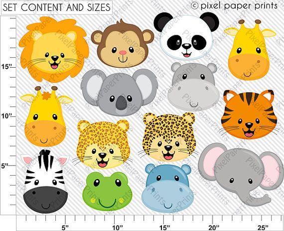 Animals Clip Art Wild Animal Faces Clipart Set Digital Etsy Animal Faces Animals Wild Clip Art