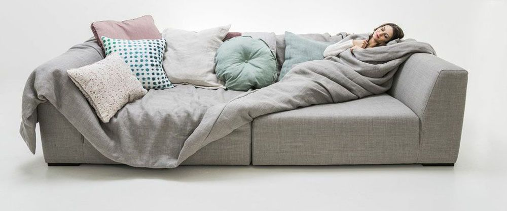 Ikuzo Product Deep Sofa Grey Color Creative Couch Sublime Sample Comfortable Furniture Models Sinking Overstuffed Material Proud