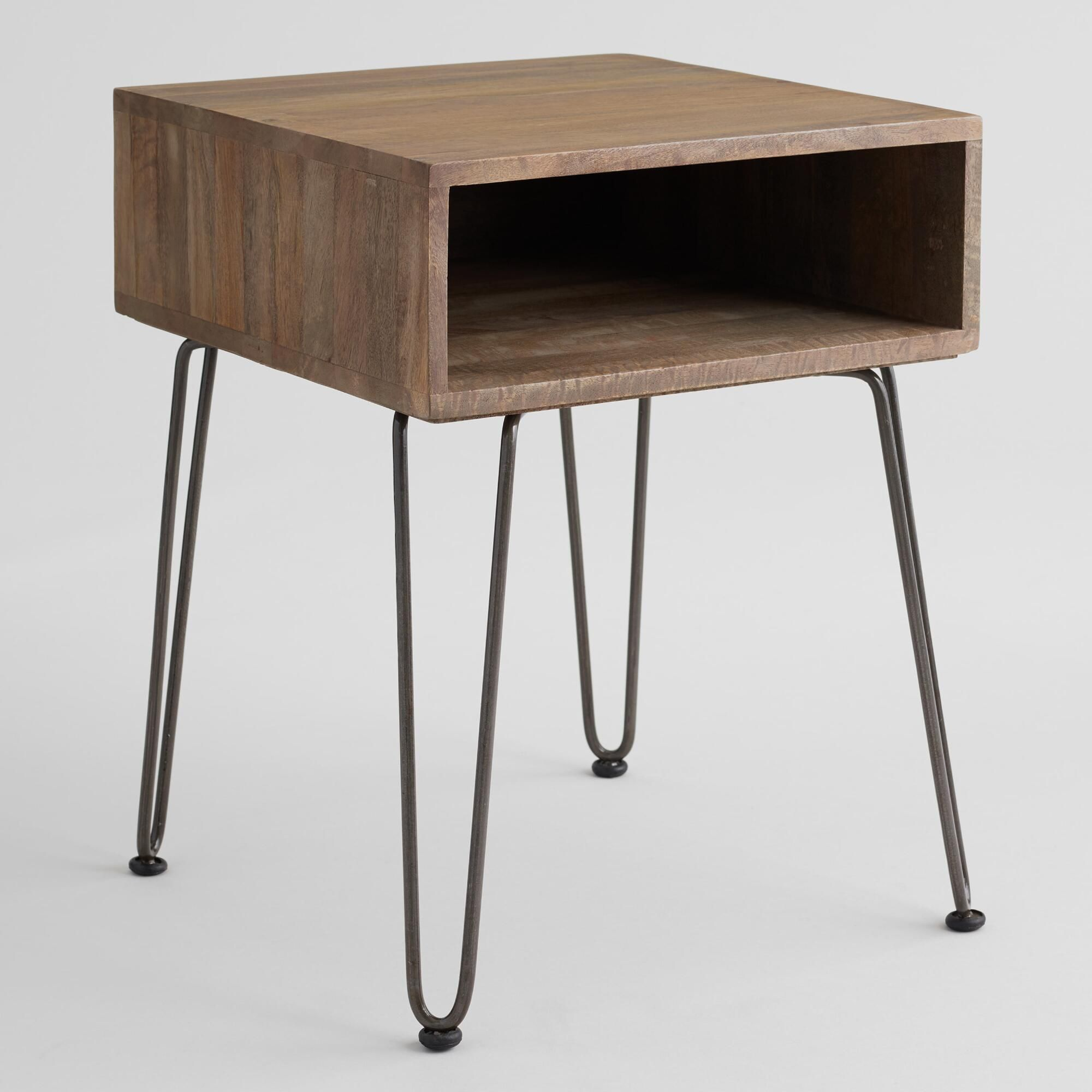 Gray Wood And Metal Cubby Accent Table Wood And Metal Black