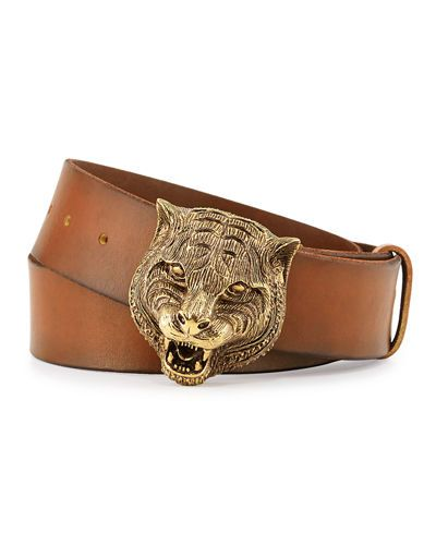 N3JX1 Gucci Men s Leather Belt with Tiger Buckle  697b6b1f0971