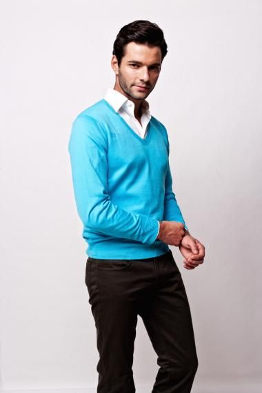 Fancy - Men's Light Blue V Neck Sweater - Lexuomo | Menswear ...
