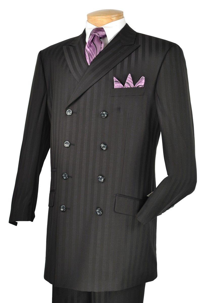 Vinci Men's Black High Fashion 8 Button Double Breasted Suit ...