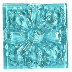 Glass Tile Relief Deco - 4 X 4 Large Glass Flower Deco - 4X4 Decorative Glass Insert - Blue- Glossy