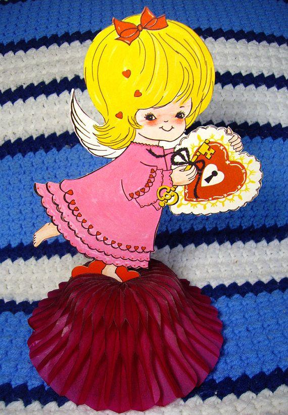 Vintage 1960s Valentine Cupid Honeycomb Art Tissue Table Centerpiece #vintage #etsy #valentinesday