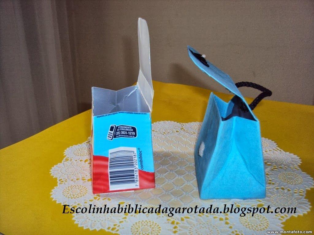 790b91175 ARTESANATOS DA BEL: Bolsinhas feitas com caixa de Leite, ótimo para  lembrancinhas de festa!!!