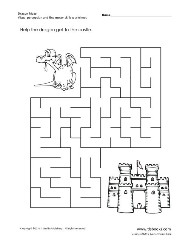 Printable Worksheets free visual perceptual worksheets : Dragon Maze: Visual Perception and Fine Motor Skills Worksheet ...