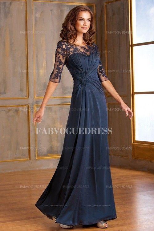 A-Line/Princess Jewel Floor-length Chiffon Mother Of The Bride Dress