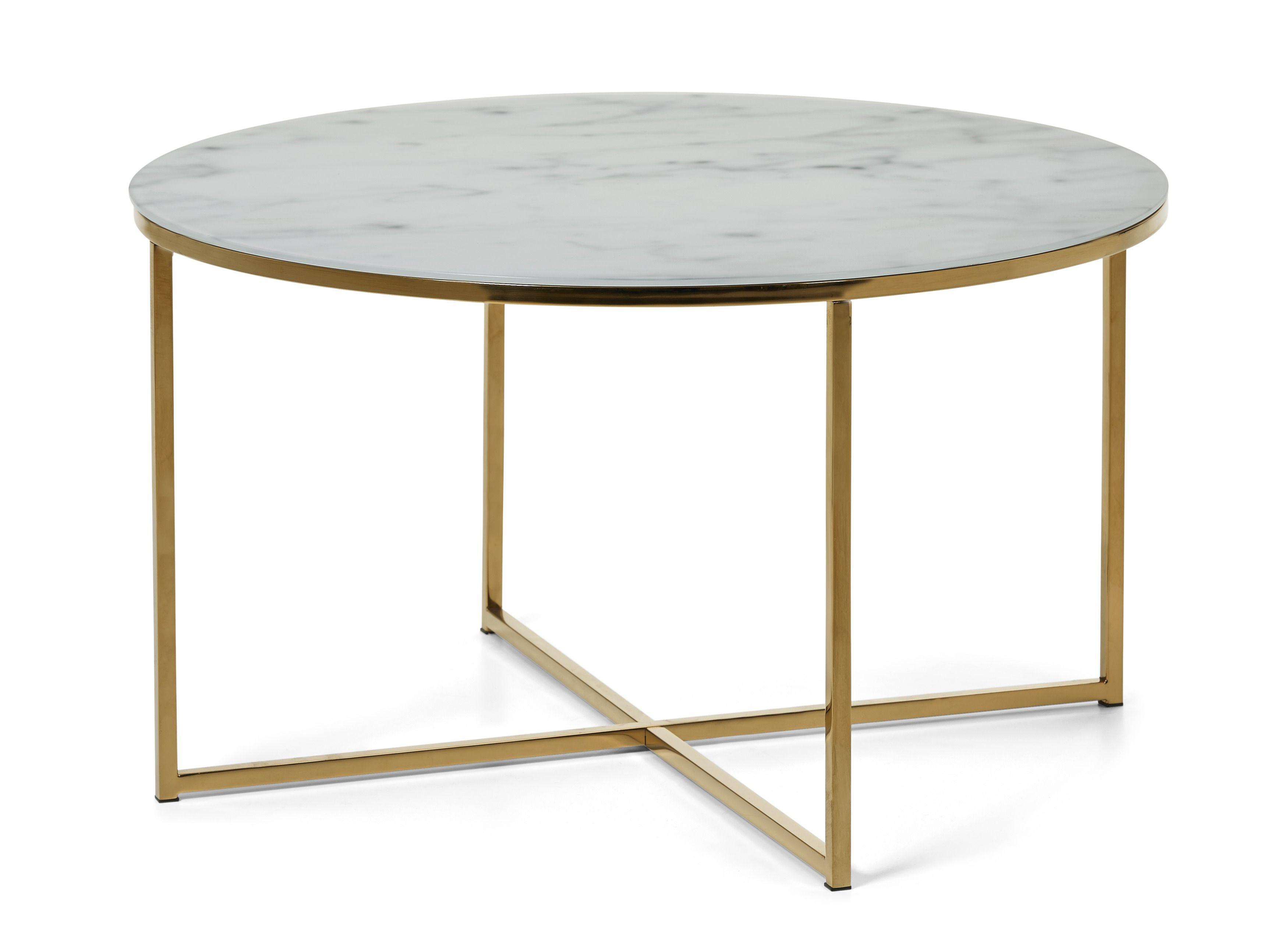 Bellissaär ett trendigt soffbord i matt glas med tryckt marmormönster och underrede i blank