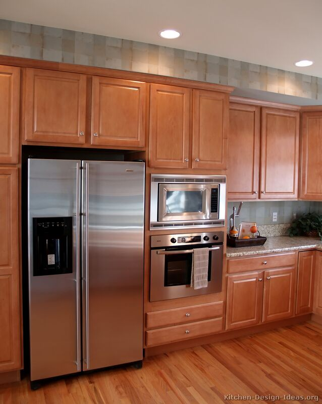 Kitchen Cabinets For Microwave Ovens traditional light wood kitchen cabinets #132 (crown-point