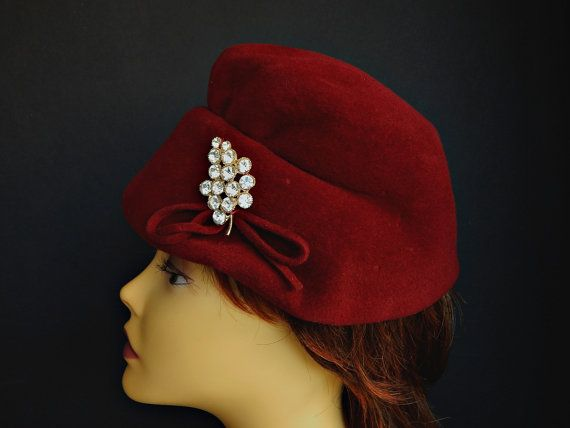 Velour Hat Sarlet Red with Rhinestones Ruched Front Lynne Brooke