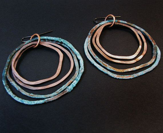 Patina earrings  Double Oxi Design  handmade by jamiespinello, $30.00