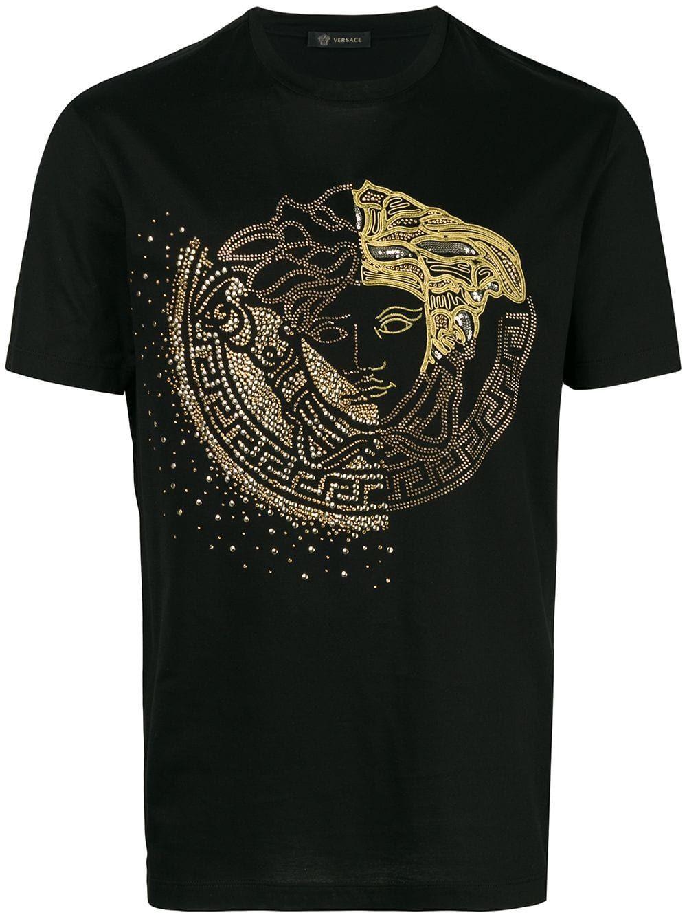 Versace Embellished Medusa T Shirt Black Versace Men Versace T Shirt Tshirt Outfits
