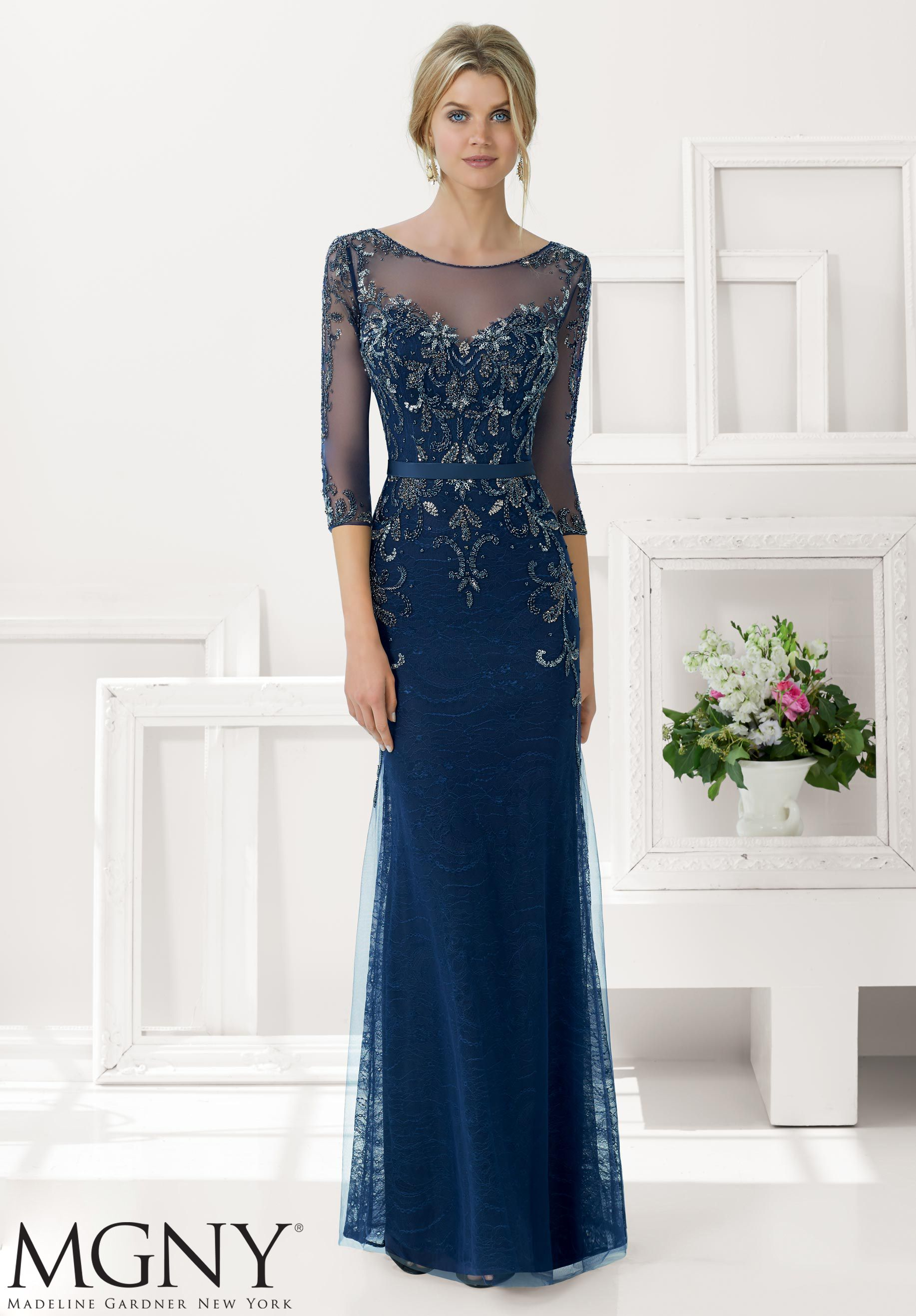 Evening gowns dresses style beaded net over lace